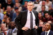 Head coach Billy Donovan of the Oklahoma City Thunder watches his team play the Denver Nuggets at the  Pepsi Center on November 9, 2017 in Denver, Colorado.