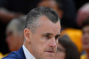 Head coach Billy Donovan of the Oklahoma City Thunder looks on in the first half during Game Six of Round One of the 2018 NBA Playoffs against the Utah Jazz at Vivint Smart Home Arena on April 27, 2018 in Salt Lake City, Utah. NOTE TO USER: User expressly acknowledges and agrees that, by downloading and or using this photograph, User is consenting to the terms and conditions of the Getty Images License Agreement.