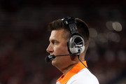 Head coach Mike Gundy of the Oklahoma State Cowboys watches from the sidelines during the college football game against the Arizona Wildcats at Arizona Stadium on September 8, 2012 in Tucson, Arizona. The Wildcats defeated the Cowboys 59-38.