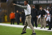 Head coach Mike Gundy of the Oklahoma State Cowboys reacts during play against the Baylor Bears at McLane Stadium on November 22, 2014 in Waco, Texas.