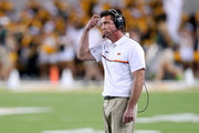 Head coach Mike Gundy of the Oklahoma State Cowboys reacts as the Oklahoma State Cowboys take on the Baylor Bears in the secodn half at McLane Stadium on September 24, 2016 in Waco, Texas.