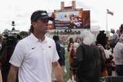 Head coach Mike Gundy of the Oklahoma State Cowboys  walks to the locker room after the game against the Texas Longhorns at Darrell K Royal-Texas Memorial Stadium on October 21, 2017 in Austin, Texas.