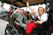 Fritz Wepper (L) and Susanne Porsche (R)attend the opening parade of the Oktoberfest beer festival on September 19, 2009 in Munich, Germany. Oktoberfest is Germany's and the world largest fair. About six million people attend the sixteen-day festival during late September and early October.