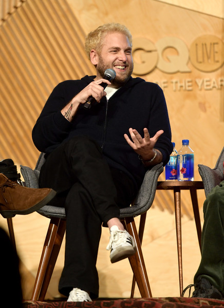 GQ Live - The World Of Jonah Hill With The Cast Of 'Mid90s' [the world of jonah hill,the cast of mid90s,event,sitting,conversation,talent show,speech,jonah hill,gq live,cast,neuehouse los angeles,california,hollywood]