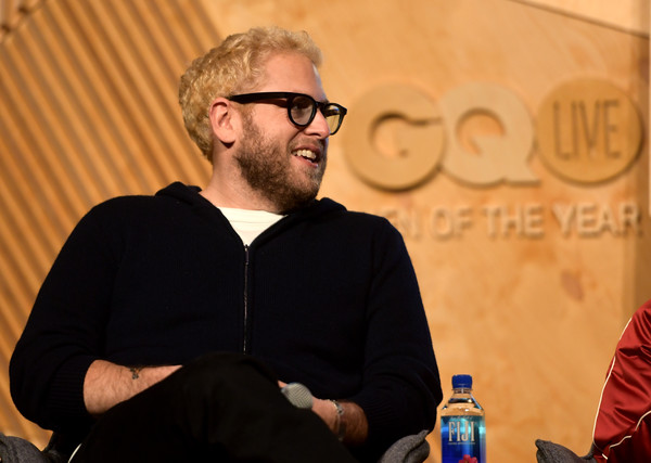 GQ Live - The World Of Jonah Hill With The Cast Of 'Mid90s' [the world of jonah hill,the cast of mid90s,yellow,human,eyewear,glasses,event,sitting,facial hair,convention,conversation,beard,jonah hill,gq live,cast,neuehouse los angeles,california,hollywood]