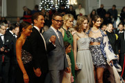 """(R-L) Taylor Hill, Lola Winding Refn, Liv Corfiven, Nicolas Winding Refn, Miles Teller and his girlfriend Keleigh Sperry attend the screening of """"Too Old To Die Young"""" during the 72nd annual Cannes Film Festival on May 17, 2019 in Cannes, France."""