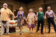 "Actors Richard Masur, Julie Halston, Marcia Jean Kurtz, Dan Butler and David Garrison take a bow during the curtain call for the opening night of ""Olive and the Bitter Herbs"" at 59E59 Theaters on August 16, 2011 in New York City."