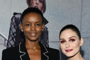 Flaviana Matata and Olivia Palermo pose at the Olivia Palermo Collection presentation during New York Fashion Week: The Shows on February 12, 2020 in New York City.