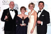 (L to R) Chris Harper, Patti LuPone, Marianne Elliott and Jonathan Bailey, winners of the Best Musical Revival award, Best Actor In A Supporting Role In A Musical award and Best Actress In A Supporting Role In A Musical award for 'Company' during The Olivier Awards with Mastercard at the Royal Albert Hall on April 07, 2019 in London, England.
