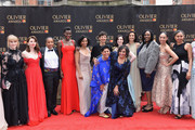 (L-R) Hannah Arterton, Ophelia Lovibond, Marai Larasi, Sheila Atim, Marchu Girma, Katie Ghose, Anjum Mouj, Meera Syal, Laura Donnelly, Indira Varma, Jennifer Joseph, Pearl Mackie and Andrea Simon attend The Olivier Awards with Mastercard at Royal Albert Hall on April 8, 2018 in London, England.