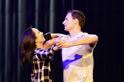 """Dancer Cheryl Burke (L) and Olympian Ryan Lochte rehearse for their """"Dancing with the Stars"""" performance with the cast of """"O by Cirque du Soleil"""" at the Bellagio on September 30, 2016 in Las Vegas, Nevada."""