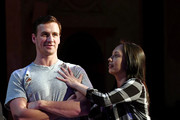 """Olympian Ryan Lochte (L) and dancer Cheryl Burke joke around as they rehearse for their """"Dancing with the Stars"""" performance with the cast of """"O by Cirque du Soleil"""" at the Bellagio on September 30, 2016 in Las Vegas, Nevada."""
