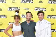 """(L-R) Actress and co-writer Alexi Pappas, actor and co-writer Nick Kroll, and co-writer Jeremy Teicher attend the """"Olympic Dreams"""" premiere during the 2019 SXSW Conference and Festivals at ZACH Theatre on March 10, 2019 in Austin, Texas."""
