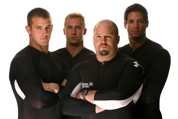 Justin Olsen Four man bonsled team members (L-R) Justin Olsen, Curtis Tomasevicz, Steve Holcomb and Steve Mesler pose for a portrait during Day Two of the 2010 U.S. Olympic Team Media Summit at the Palmer House Hilton on September 11, 2009 in Chicago, Illinois.