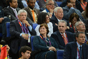 NBA Commissioner David Stern (L) and his wife Diane Bock Stern sit behind (L-R) Anne Rogge, IOC president Jacques Rogge and FIBA's President Yvan Mainini, who sit behind Chairman and CEO of Popular, Inc. Richard Carrion during the Men's Basketball gold medal game on Day 16 of the London 2012 Olympics Games at North Greenwich Arena on August 12, 2012 in London, England.