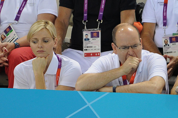 Princess Charlene and Prince Albert II of Monaco attend the swimming competitions at Aquatics Centre on July 29, 2012 in London, England.