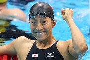 Aya Terakawa of Japan celebrates after she finished third to win the bronze medal in the final of the Women's 100m Backstroke on Day 3 of the London 2012 Olympic Games at the Aquatics Centre on July 30, 2012 in London, England.