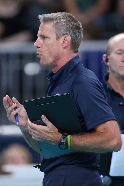 The United States assistant coach Karch Kiraly looks on in the Women's Volleyball Preliminary match between the United States and Brazil on Day 3 of the London 2012 Olympic Games at Earls Court on July 30, 2012 in London, England.