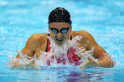 Rebecca Soni of the United States competes in the second semifinal heat of the Women's 200m Breaststroke on Day 5 of the London 2012 Olympic Games at the Aquatics Centre on August 1, 2012 in London, England.