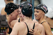 (L-R)  Allison Schmitt, Shannon Vreeland, Missy Franklin and Dana Vollmer of the United States celebrate after they won the Final of the Women's 4x200m Freestyle Relay on Day 5 of the London 2012 Olympic Games at the Aquatics Centre on August 1, 2012 in London, England.