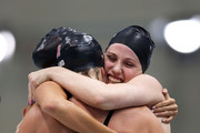 Shannon Vreeland. (L), Missy Franklin (R), Allison Schmitt (C) and Dana Vollmer (obscured) of the United States celebrate after they won the Final of the Women's 4x200m Freestyle Relay on Day 5 of the London 2012 Olympic Games at the Aquatics Centre on August 1, 2012 in London, England.