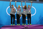 (L-R) Missy Franklin, Dana Vollmer, Shannon Vreeland, and Allison Schmitt  of the United States celebrate the medal ceremony for the Women's 4x200m Freestyle Relay on Day 5 of the London 2012 Olympic Games at the Aquatics Centre on August 1, 2012 in London, England.