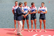 Chris Bartley, Richard Chambers, Rob Williams and Peter Chambers of Great Britain wait to receive their silver medals from Prince Frederik of Denmark during the medal ceremony for the Lightweight Men's Four final on Day 6 of the London 2012 Olympic Games at Eton Dorney on August 2, 2012 in Windsor, England.