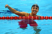 Rebecca Soni of the United States celebrates after setting a new world record time of 2:19.59 in the Women's 200m Breaststroke Final on Day 6 of the London 2012 Olympic Games at the Aquatics Centre on August 2, 2012 in London, England.