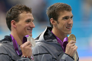 Gold medallist Michael Phelps of the United States and Silver medallist Ryan Lochte of the United States pose with the medlas won  in the Men's 200m Individual Medley final on Day 6 nof the London 2012 Olympic Games at the Aquatics Centre on August 2, 2012 in London, England.