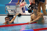 Gold medallist Michael Phelps (R) of the United States looks on along with silver medallist Ryan Lochte (L) of the United States following the Men's 200m Individual Medley final on Day 6 of the London 2012 Olympic Games at the Aquatics Centre on August 2, 2012 in London, England.