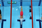 (L-R) Rikke Pedersen of Denmark, Rebecca Soni of the United States and Satomi Suzuki of Japan compete in the Women's 200m Breaststroke Final on Day 6 of the London 2012 Olympic Games at the Aquatics Centre on August 2, 2012 in London, England. Soni set a new world record time of 2:19.59 for the event.