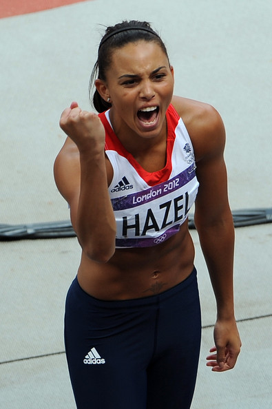Louise Hazel of Great Britain celebrates during the Women's Heptathlon Javelin Throw on Day 8 of the London 2012 Olympic Games at Olympic Stadium on August 4, 2012 in London, England.