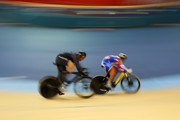 Hersony Canelon (R) of Venezuela leads Edward Dawkins of New Zealand in action during the Men's Sprint Track Cycling 1/16 Final Repechages on Day 8 of the London 2012 Olympic Games at Velodrome on August 4, 2012 in London, England.