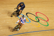 Hersony Canelon (bottom) of Venezuela celebrates winning against Edward Dawkins of New Zealand in action during the Men's Sprint Track Cycling 1/16 Final Repechages on Day 8 of the London 2012 Olympic Games at Velodrome on August 4, 2012 in London, England.
