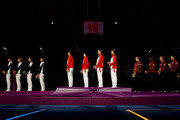China (C) celebrates with their gold medals, Korea (L) with their silver medals and the United States (R) with their bronze medals during the medal ceremony after the Women's Epee Team Fencing Finals on Day 8 of the London 2012 Olympic Games at ExCeL on August 4, 2012 in London, England.
