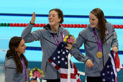 Gold medallists Rebecca Soni, Allison Schmitt and Missy Franklin of the United States celebrate following the medal ceremony for the Women's 4x100m Medley Relay on Day 8 of the London 2012 Olympic Games at the Aquatics Centre on August 4, 2012 in London, England.