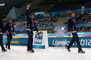 (L to R) Silver medallists Takuro Fujii, Kosuke Kitajima, Takeshi Matsuda and Ryosuke Irie of Japan aknowledge the crowd following the medal ceremony for the Men's 4x100m medley Relay Final on Day 8 of the London 2012 Olympic Games at the Aquatics Centre on August 4, 2012 in London, England.