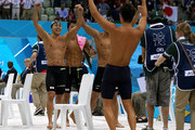 Silver medallists Takuro Fujii, Takeshi Matsuda, Kosuke Kitajima, and Ryosuke Irie of Japan celebrate finishing second in the Men's 4x100m medley Relay Final on Day 8 of the London 2012 Olympic Games at the Aquatics Centre on August 4, 2012 in London, England.