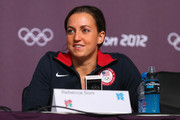 Rebecca Soni of the USA Swim Team speaks during a press conference at the Main Press Center on July 26, 2012 in London, England.