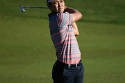 Jin Jeong of Korea plays his third shot into the third green during the second round of the Omega Dubai Desert Classic on the Majlis Course at the Emirates Golf Club  on January 30, 2015 in Dubai, United Arab Emirates.