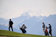 Rory McIlroy and Justin Timberlake look on during the Pro - Am prior to the start of the Omega European Masters at Crans-sur-Sierre Golf Club on August 28, 2019 in Crans-Montana, Switzerland.