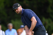 Singer Justin Timberlake of USA reacts during the pro-am prior to the start of the Omega European Masters at Crans Montana Golf Club on August 28, 2019 in Crans-Montana, Switzerland.