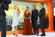 (L-R)  Edith Bowman, Margot Robbie, Brad Pitt and Leonardo DiCaprio attend the UK Premiere of Once Upon A Time...In Hollywood at Odeon Luxe Leicester Square on July 30, 2019 in London, England.