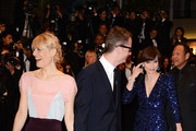 (L-R) Liv Corfixen, director Nicolas Winding Refn and actress Kristin Scott Thomas attend the 'Only God Forgives' Premiere during the 66th Annual Cannes Film Festival at Palais des Festivals on May 22, 2013 in Cannes, France.