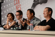 (L-R) Actress Kristin Scott Thomas, director Nicolas Winding Refn, Vithaya Pansringarm and musician Cliff Martinez attend the 'Only God Forgives' Press Conference during the 66th Annual Cannes Film Festival on May 22, 2013 in Cannes, France.