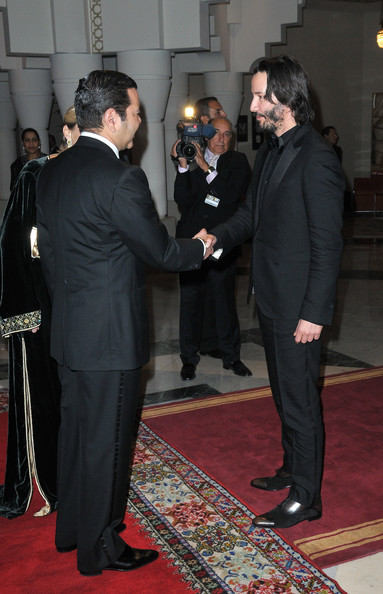 Actor Keanu Reeves meets Prince Moulay Rachid during the Marrakech 10th International Film Festival on December 3, 2010 in Marrakech, Morocco.