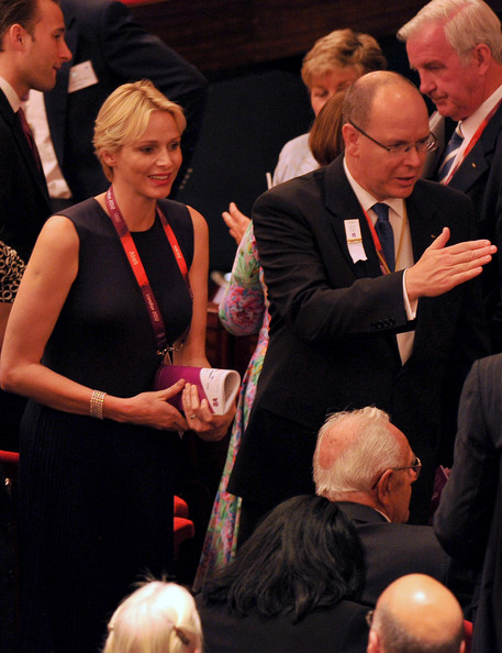 Princess Charlene of Monaco and Prince Albert II of Monaco attend the Opening Ceremony of the 124th IOC Session, prior to the start of the London 2012 Olympic Games at The Royal Opera House on July 23, 2012 in London, England.