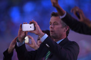 Prince Frederik of Denmark takes a picture of the team of Denmark during the Opening Ceremony of the Rio 2016 Olympic Games at Maracana Stadium on August 5, 2016 in Rio de Janeiro, Brazil.