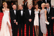 (L-R)  Uma Thurman, Gilles Jacobs, Frederic Mitterand, Robert de Niro, Martina Gusman, Linn Ullmann, Olivier Assayas attend the Opening Ceremony at the Palais des Festivals during the 64th Cannes Film Festival on May 11, 2011 in Cannes, France.
