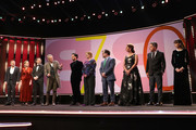 """President of the International Jury Jeremy Irons (4thL) speaks on stage next to (L-R) Samuel Finzi, Mariette Rissenbeek, Carlo Chatrian, Luca Marinelli, Bettina Brokemper, Kenneth Lonergan, Annemarie Jacir, Kleber Mendoca Filho and Berenice Bejo at the opening ceremony and """"My Salinger Year"""" premiere during the 70th Berlinale International Film Festival Berlin at Berlinale Palace on February 20, 2020 in Berlin, Germany."""